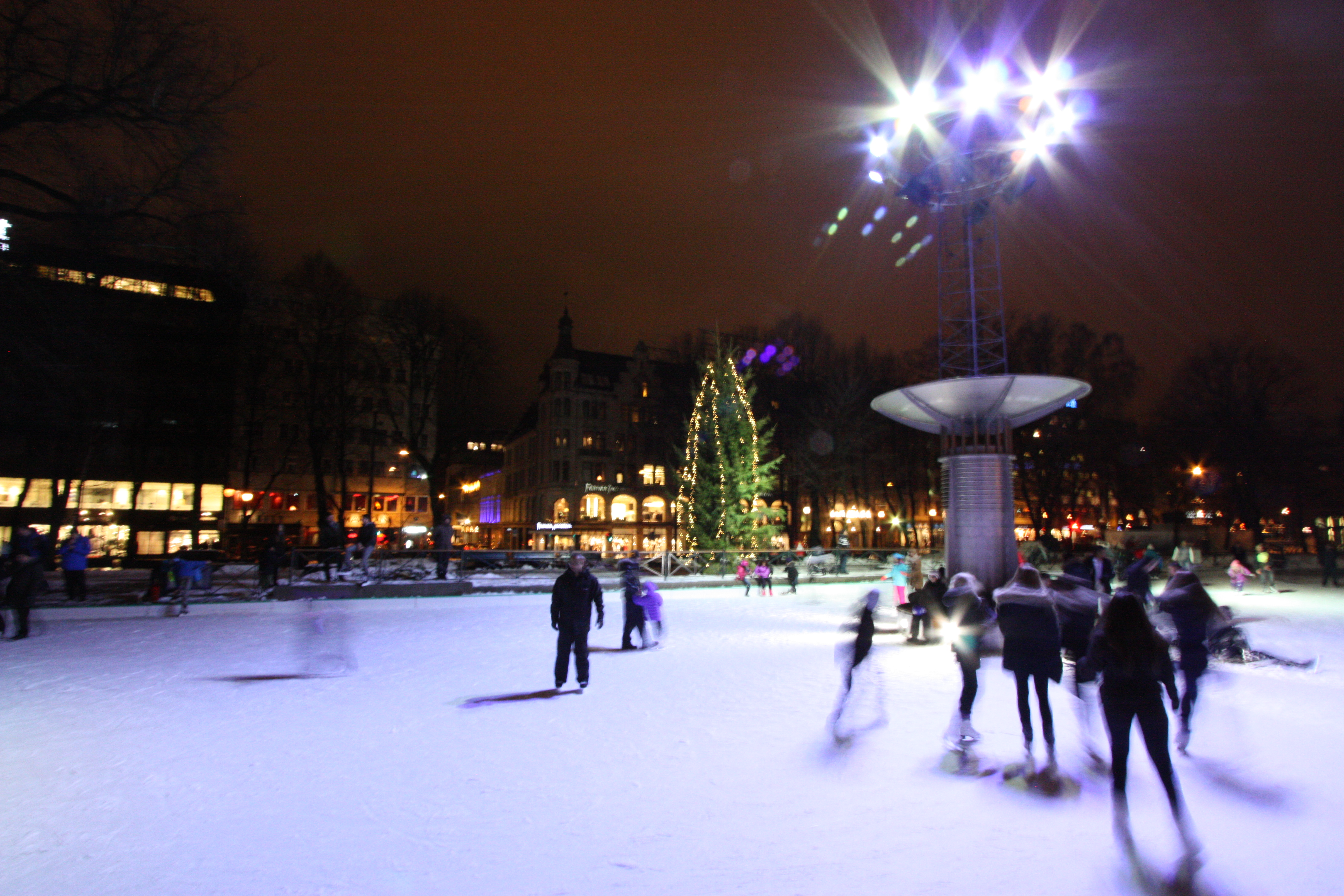 Peaople skating at Spikersuppa in Oslo